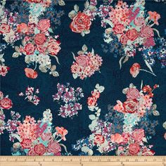 Art Gallery Skopelos Voile Nisi Flora Oceanon from @fabricdotcom  Designed by Katarina Roccella for Art Gallery Fabrics, this finely woven voile fabric is perfect for creating stylish blouses, shirts, or dresses and skirts with a lining. Colors include pink, blue, white and pink on a blue background.