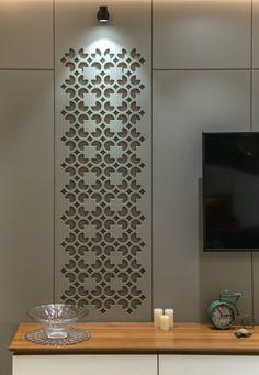 TV Unit design Look at the details in that TV unit. Design by Inceppt Design studio. Interior, Apartment Design, Apartment Interior, Jaali Design, Minimalist Living Room, Tv Unit Interior Design, Tv Unit Design, Indian Interiors, Living Room Tv Unit Designs