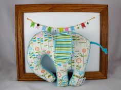 Elephant PlushToy - Handmade Stuffed Animal - Turquoise Green Pink Orange - Minky