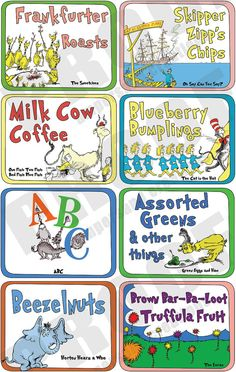 Dr. Seuss  Deluxe Food Label Set by AmpersandCreations on Etsy, $26.00 for 35 printable tags >> Name tags for food at a party or baby shower. Plenty of space to write in the real description for whatever you use the label for (like Spinach Dip). Huge set of tags.