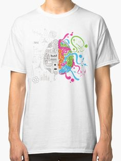 Brain Creativity Illustration by Gordon White | White Creative Brain Chemistry Classic Tshirt for Men Available in All Sizes @redbubble @redbubblecreate  ---------------------------  #redbubble #sticker #brain #creative #creativity #chemistry #nerd #geek #cute #adorable #classictshirt #shirt #tee #clothing #apparel  ---------------------------  http://www.redbubble.com/people/blackbox23/works/23716610-creative-brain-chemistry?asc=u&p=classic-tee&rel=carousel