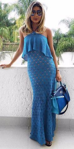 vestidos longo tricot crochê ciganinha ombro a ombro