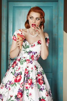 dbb0c7d3368c95 50s Lily Floral Swing Dress in White. Dolly and Dotty ...
