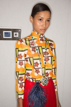 See behind-the-scenes photos from the Prada Spring 2017 show at Milan Fashion Week.