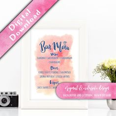 Printable drinks menu  Hello, thank you for visiting my shop, and congratulations on your upcoming wedding!  These DIY printable menus look great in a pretty white frame and will add a touch of casual elegance to your reception centrepieces.  I****NEW FOR 2017**** - Now available in a new range of shine effects and foil effects.  If you would like to see any colour combinations together or to perform your own test print before ordering, please contact me for a free test print in your choice…