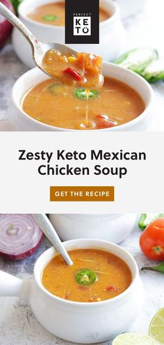 Whether you're trying to warm up on a cold evening or having a dinner party, this Zesty Keto Mexican Chicken Soup is not only good for the soul but oh so tasty! | #keto #KetoLifestyle #WeightLoss #FatLoss #Health #Healthy #HealthyLiving #HealthyLifestyle Soup Recipes, Diet Recipes, Chicken Recipes, Diet Tips, Chili Recipes, Recipes Dinner, Healthy Recipes, Soup Appetizers, Keto Side Dishes