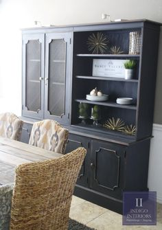 Reserved For Client Farmhouse Style Shabby Chic Black Distressed Dining Room China Dish Cabinet