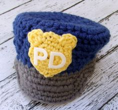 Police Hat  in Blue Gray Yellow and White by mamamegsyarnshoppe...so cute for a future little boy