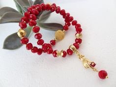 Set of Two Bracelets,Red Crystal Beads Bracelet,Red Beads Bracelet,Charm Bracelet,Elegance Bracelet,Gift for Her,Christmas Gifts by sevinchjewelry on Etsy