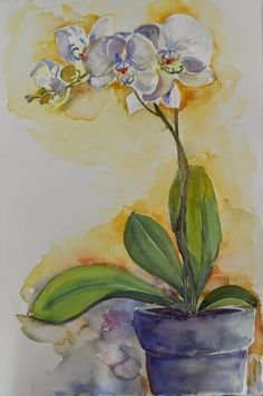 PAINTING IN TUSCANY: White Orchid in a pot