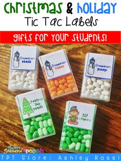 Adorable labels for Christmas themed Tic Tacs! These are printable for gifts for teachers and school! gifts for students from teacher Christmas Candy Labels Student Christmas Gifts, Student Gifts, Diy Christmas Gifts, Teacher Gifts, Holiday Gifts, Christmas Holidays, Christmas Decorations, Happy Holidays, Merry Christmas