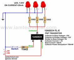 PNP Bipolar Junction Transistor 12A02CH-TL-E as a Switch | IamTechnical.com