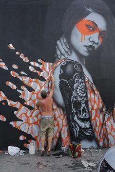 """Splash"" street art triptych by Fin DAC and Angelina Christina in Sao Paulo, Brazil"