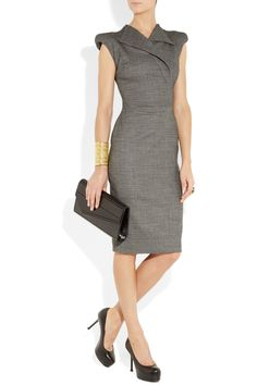 Here we have a sleek gray dress aired with the Tribute heel made by, YSL.  This attire is perfect for the office..My Style from head to toe