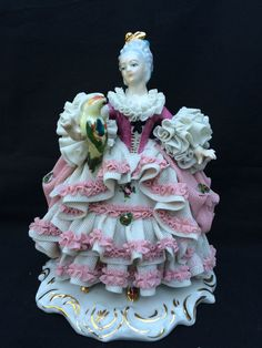 Antique German porcelain. Dresden :    Lady and parrot. Marked