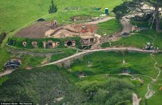 The Hobbit Set Aerial view of 'The Hobbit' film set, Matamata, Waikato, New Zealand Credit: Photo by Stephen Barker / Rex Features Tolkien, Earth Two, Middle Earth, Casa Dos Hobbits, Jackson, The Hobbit Movies, An Unexpected Journey, Site Plans, Earth Homes