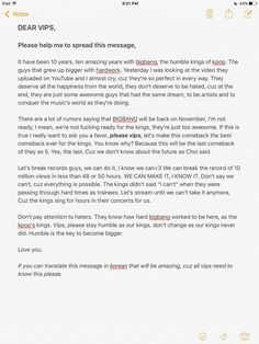 VIPS SPREAD THIS! BIGBANG'S LAST COMEBACK AS 5 HAS TO BE THE BEST!!!!!! I am so glad to have discovered Bigbang in time, and I want to enjoy this comeback with all you other VIPs! (P.S: If the Backstreet Boys are recording together again, then Bigbang definitely has a future together, right?)