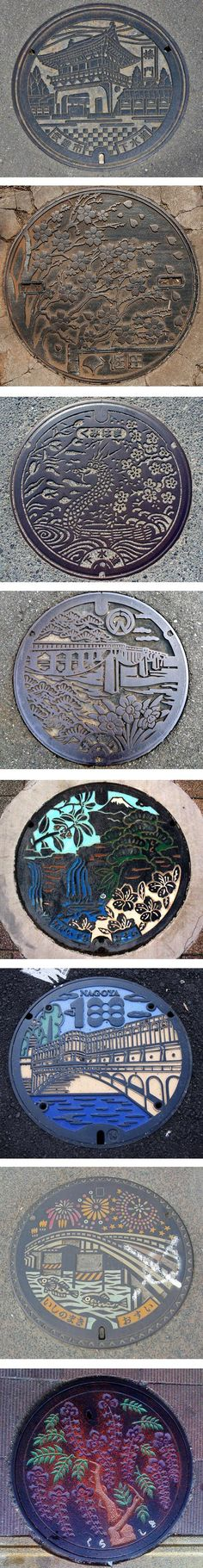 Japanese Manhole Covers ~ In Japan a large number of municipalities use these utility opening covers to express their local identity, with decorative covers that portray local landmarks, plants, animals, festivals and other elements of cultural or civic import. There is an extensive Flickr group devoted to them, and a book on the appreciation of them called Drainspotting.