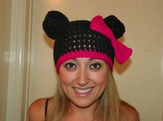 Minnie Mouse Hat with a Red Bow Minnie Mouse Beanie Hat for a Teen Adult Hand Crochet You Could Custom Order any Size
