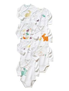 Happy Price Pack of 7 Long-Sleeved Bodysuits for Newborns Assorted cf524517708