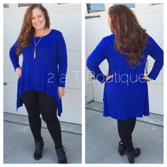PLUS SIZE Cobalt High-low tunic DO NOT buy this listing, comment below to make sure I have your size available and I will make you a personal listing  Plus size Cobalt long sleeve high-low tunic. Available in size XL(12-14) 1X(14-16) 2X(16-18). Color: cobalt. TK1325300. . Model is size 14-16 wearing size 1X. ❌PRICE FIRM UNLESS BUNDLED ❌ 2 a T Boutique  Tops Tunics