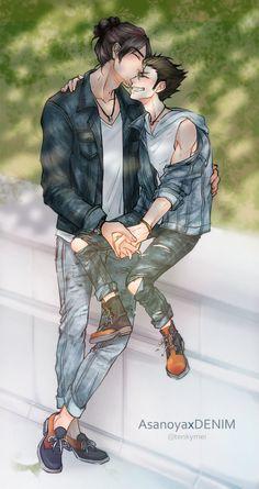 Asahi x Nishinoya | AsaNoya | Haikyuu!! They're so cute I want to cry