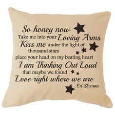 ED SHEERAN LYRICS Cushion Wedding Anniversary Gift Valentines Day Gift Christmas Love