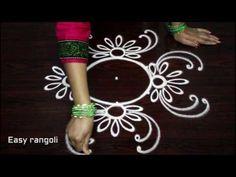 easy creative rangoli designs with 3x3 dots - beautiful kolam designs - easy rangoli designs - YouTube