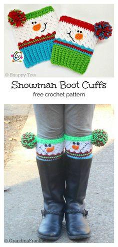 Christmas Snowman Boot Cuffs with Pompom Free Crochet Pattern hat kids fun 5 Christmas Holiday Boot Cuffs Free Crochet Pattern and Paid Guêtres Au Crochet, Crochet Boots, Crochet Slippers, Crochet Crafts, Crochet Clothes, Free Crochet, Crochet Headbands, Knit Headband, Baby Headbands
