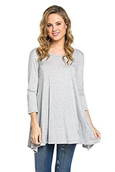 $ 7.99 Frumos Womens Tunic 3/4 Sleeve Round Neck Solid Tie Dye Tunic Top.Color : Heather Grey. Tunic Top Perfect for Casual,Normal,Everyday,Party.This is a beautiful,cute and amazing top available at very cheap prices.Will be available in various colors and sizes.This can be worn during winters.fall,summer,springFrumos Womens Tunic 3/4 Sleeve Round Neck Solid Tie Dye Tunic Top Made In USA at Amazon Women's Clothing store: