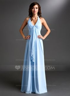 Bridesmaid Dresses - $99.99 - Empire Halter Floor-Length Chiffon Bridesmaid Dress With Ruffle (007000831) http://jjshouse.com/Empire-Halter-Floor-Length-Chiffon-Bridesmaid-Dress-With-Ruffle-007000831-g831