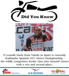 #Did you #Know #Facts :-  17 year-old Maria Herrera Muñoz from Toledo in Spain is currently leading the Spanish CEV Moto3 Championship – the wildly competitive feeder class into MotoGP Moto3 with a win and second place.  #RMMotors #Bike #Biker #Rider #Ride #LongRider #Riding #Women #WomenRider #DidYouKnowFacts #InterestingFacts