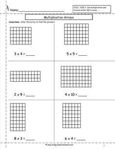 arrays worksheets | Multiplication Arrays Worksheets