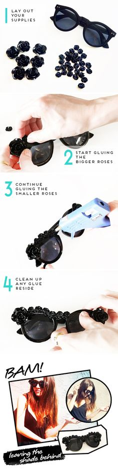 Key ingredient to any successful BBQ! Good sunglasses! There is a fun DIY to add your own twist to a pair of plain shades.
