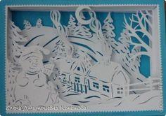 Поделка изделие Новый год Бумажный туннель Зимой в деревеньке Бумага фото 1