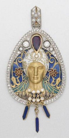 GOLD, ENAMEL AND GEM-SET PENDANT, MASRIERA & CARRERAS 124 diamonds approx 1.90 cts.