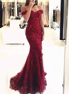 Burgtundy lace off shoulder long prom dress, mermaid evening dress, Customized service and Rush order are available