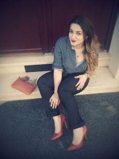 denim shirt and red heels