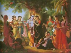 """RADHA AND KRSNA AND THE EIGHT CHIEF GOPIS  In the Brahma-samhita, """"I worship Govinda, His own realm, Goloka, with Radha, who resembles His own spiritual figure and who embodies the ecstatic potency hladini. Their companions are Her confidantes, who embody extensions of Her bodily form and who are imbued and permeated with ever-blissful spiritual rasa.'' The gopis assist Radha and Krsna in Their transcendental pastimes, using their talents to increase the divine couple's spiritual pleasure."""