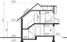 Przekrój Dom przy Alabastrowej 2 CE Model House Plan, House Plans, 100 M2, Study Office, Design Case, Aquaponics, Modern House Design, Home Projects, Future House