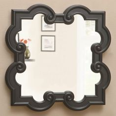 The quatrefoil shape motif is a timeless style that is back on trend. This black finish barbed quatrefoil mirror is accented with scrollwork details to make it an elegant addition to any living area in your home from living room to bedroom. Eclectic Mirrors, Home Decor Mirrors, Wall Decor, Wood Design, Modern Design, Modern Art Styles, Coaster Fine Furniture, Traditional Mirrors, Wall Accessories