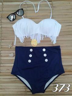 Biquíni,hot Pants, Cintura Alta,branco Com Franja - R$ 99,90 em Mercado Livre