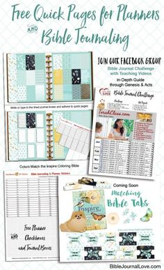 Free Quick Planner Pages (not stickers). Just print and ad washi! #Planner Love #BIbleJournaling matches the Inspire Coloring Book