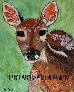 Items similar to Mixed media original fawn painting canvas on Etsy Carrie, Moose Art, Original Art, Mixed Media, Handmade Gifts, The Originals, Canvas, Unique, Painting