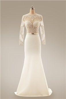 Sheath/Column Jewel Sweep/Brush Train Elastic Woven Satin Evening Dress