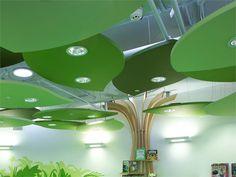 Glass wool acoustic ceiling clouds Ecophon Solo™ Square By Saint-Gobain ECOPHON Ceiling Chandelier, Ceiling Beams, Ceiling Lights, Ceiling Plan, Ceilings, Bedroom Chandeliers, False Ceiling Design, Design Hotel, Kindergarten Design
