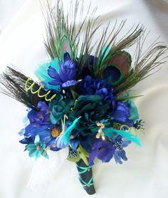 Peacock Wedding Bouquet Turquoise Purples Blues Bridal Bouquet. $78.00, via Etsy.