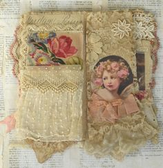 Mixed Media Fabric Collage Book of Shabby Roses and Angels in Art, Direct from the Artist, Mixed Media & Collage | eBay