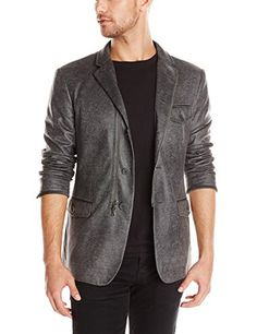 John Varvatos Men's 5 Button Notch Soft Jacket with Front Zip Faux suede Closure