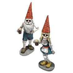 This set of beer-swigging Bavarian gnomes had so much fun at the brew tents for the 1810 wedding of King Ludwig that they just never left! Our skeleton crew gnome collectibles are ready to raise a fro